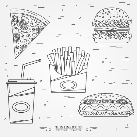 prepared potato: Vector thin line icon pizza, fries, soda, hot dog and hamburger . For web design and application interface, also useful for infographics. Vector illustration. Illustration