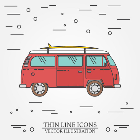 hollyday: Travel bus family camper with surf board thin line. Traveler truck tourist bus outline icon. RV travel bus grey and white vector pictogram isolated on white. Summer bus family travel concept. Vector illustration. Illustration