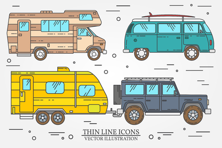omnibus: Set of Tourist bus, SUV, trailer, RV camper trailer, Traveler truck.  Summer trip family travel concept.  Thin line icon. Vector illustration. Illustration