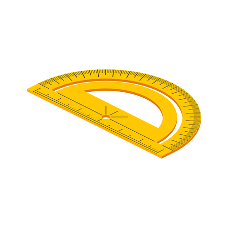 protractor: Isometric protractor on white background. Vector illustration.