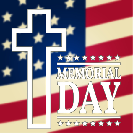 white day: Happy Memorial Day background template. Happy Memorial Day poster. American flag. Patriotic banner. Vector illustration. Illustration