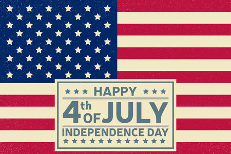july 4th fourth: Happy Independence Day background template. Happy 4th of july poster. Happy 4th of july and Independence day on top of American flag. Patriotic banner. Vector illustration. Illustration