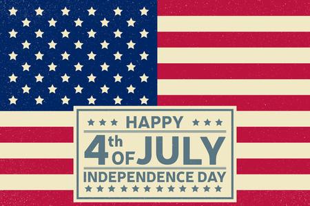 julio: plantilla de fondo feliz Día de la Independencia. Feliz el 4 de cartel de julio. Feliz el 4 de julio y Día de la Independencia en la parte superior de la bandera estadounidense. bandera patriótica. Ilustración del vector. Vectores