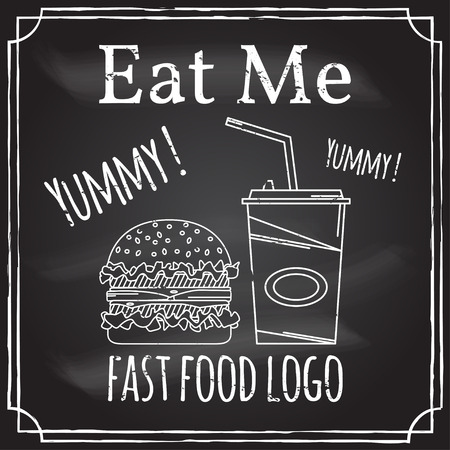 eat me: Eat me. Elements on the theme of the restaurant business.  Chalk drawing on a blackboard. Logo, branding,  logotype,  badge  with a hamburger and soda.  Fast food symbol. Vector illustration.