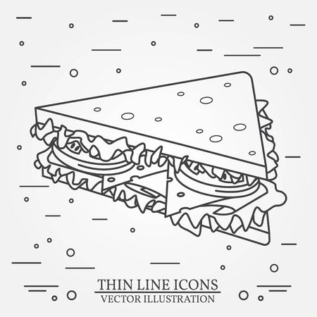 peppar: Vector thin line icon sandwich. For web design and application interface, also useful for infographics. Vector dark grey. Vector illustration.