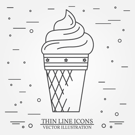 softcream: Vector thin line icon ice-cream. For web design and application interface, also useful for infographics. Vector dark grey. Vector illustration.