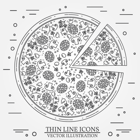 cheesy: Vector thin line icon pizza. For web design and application interface, also useful for infographics. Vector dark grey. Vector illustration.