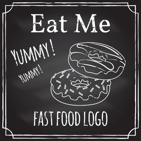 chalk drawing: Eat me. Elements on the theme of the restaurant business. Illustration
