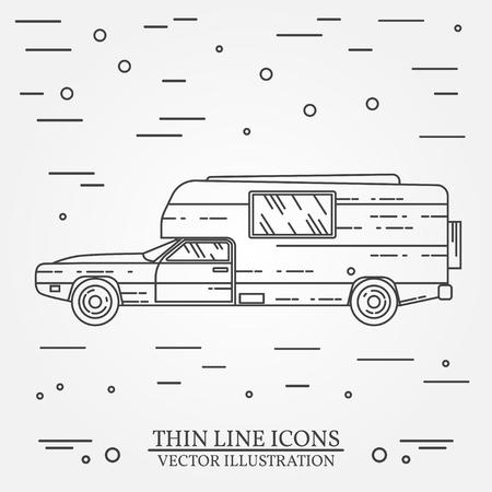 traveler: Traveler truck camper thin line. Illustration