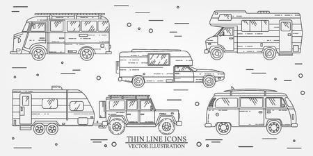 omnibus: Set of Tourist Summer trip family travel concept.  Thin line icon. Vector illustration. Illustration