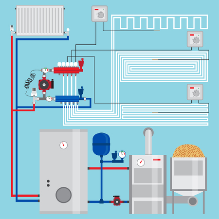 Energy-saving heating system with thermostats.
