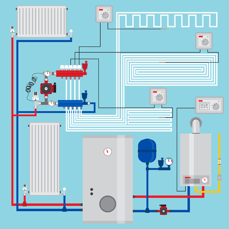 Smart energy-saving heating system with thermostats.  イラスト・ベクター素材