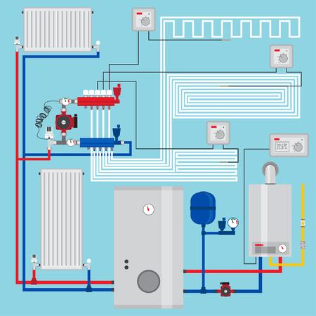 energysaving: Smart energy-saving heating system with thermostats. Illustration
