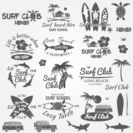 Set van retro vintage badges en labels. Voor web design, mobiel en applicatie-interface, ook nuttig voor infographics. Surfclub en surfschool design. Vector illustratie.