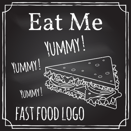 eat me: Eat me. Elements on the theme of the restaurant business. Chalk drawing on a blackboard. Logo, branding, logotype, badge with a sandwich. Fast food symbol. Vector illustration. Illustration