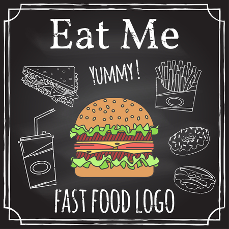 eat me: Eat me. Elements on the theme of the restaurant business. Hamburger, sandwich, fries and donut. Vector illustration.