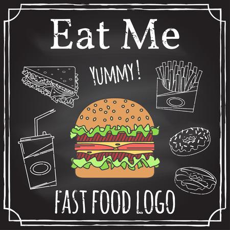 Eet mij. Elementen op het thema van het restaurant business. Hamburger, sandwich, frietjes en donut. Vector illustratie.