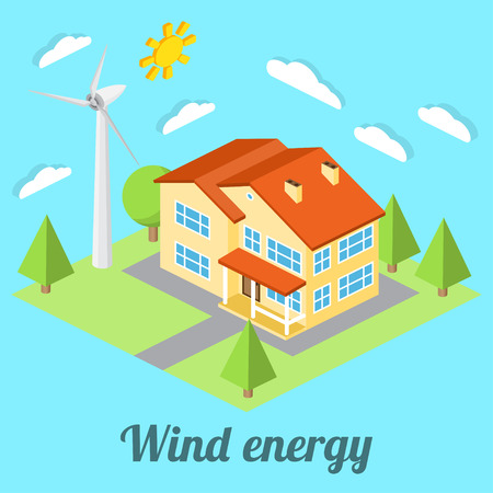 passive: Low-energy house with wind turbine. For web design, mobile and application interface, also useful for infographics. Isometric Passive House concept. Vector illustration.