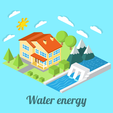 alternative energy sources: Low-energy house with Hydro power plant. For web design, mobile and application interface, also useful for infographics. Isometric Passive House concept. Vector illustration.