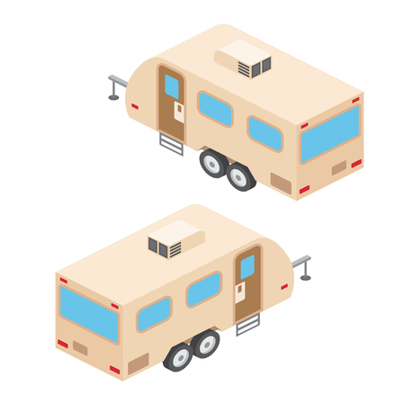 rv: Isometric RV campers trailer. RV travel campers isolated on white. Summer campers family travel concept. Vector illustration.