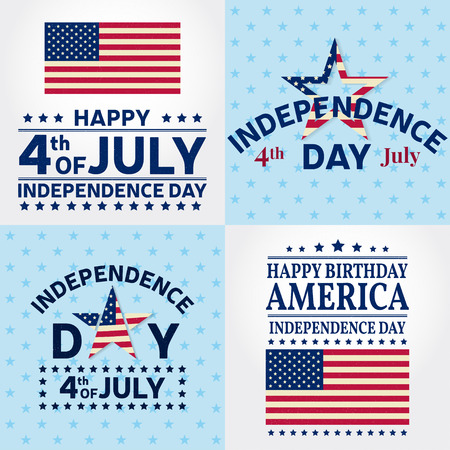 summer's: Set of Independence day greeting cards, flyers. Independence day posters. Patriotic banner for website template. Vector illustration.