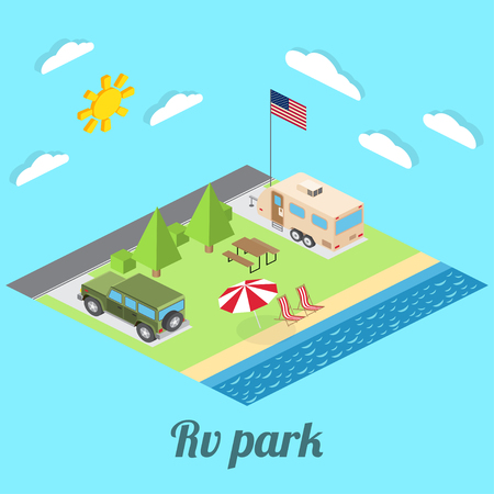pacific: Isometric summer RV camping on cost of Pacific ocean. Isometric vector illustration of car and travel trailers. Summer trip family travel concept.