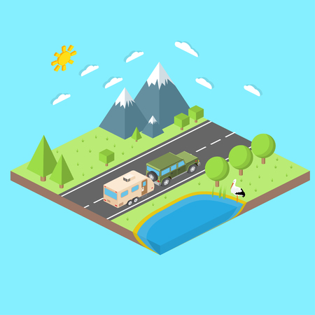 trailers: Isometric illustration of car and travel trailers. Summer trip family travel concept. Thin line icon. Vector illustration.