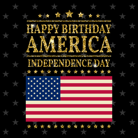 Gold Glitter Independence Day Usa Greeting Card Flyer July