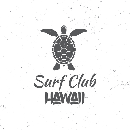 Surf club concept. Vector Summer surfing retro badge. Surfer club emblem, outdoors banner, vintage background. Surfing concept for shirt or logo, print, stamp. Turtle, hawaii. Surf icon design. - stock vector.