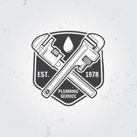 Vintage sanitair dienst badge, banner of logo emblem.Elements op het thema van het sanitair service business. Vector illustratie.