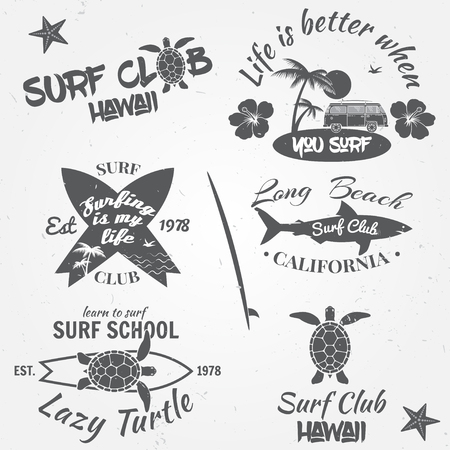 Set of retro vintage badges and labels. Vintage surf club elements. Vector retro surf club labels, badges and design elements. Vector illustration. Zdjęcie Seryjne - 59952412