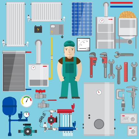 Sanitär-und Heizungselemente. Heizanlagen. Set mit Kessel, Klempner, Schraubenschlüssel, Pumpe, Solarpanel, Rohre, Heizkörper, Batterie, Amperemeter, Thermostat, Gaskessel, Pelletkessel, Konverter, Ausdehnungsgefäß. Vektor-Illustration.