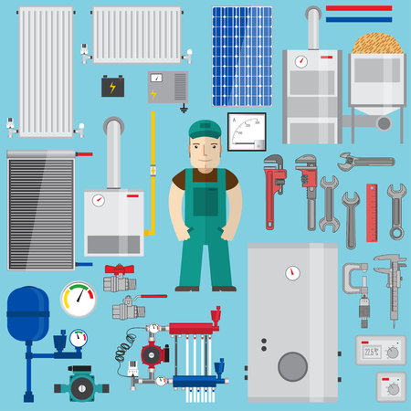 Sanitair en verwarmingselementen. Verwarmingsapparatuur. Set met boiler, loodgieter, moersleutel, pomp, zonnepaneel, buizen, radiatoren, accu, ampèremeter, thermostaat, gasboiler, pelletketel, converter, expansievat. Vector illustratie. Stockfoto - 59952415