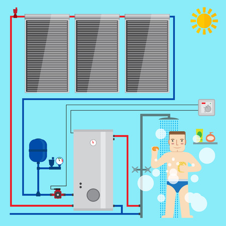 Solar Water Heater system and man in the bathroom taking a shower. Flat icon for web design and application interface, also useful for infographics. Vector illustration. Stock Illustratie