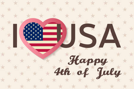 felicitation: 4th of july background. Fourth of July felicitation classic postcard. USA Happy Independence day greeting card. Patriotic banner for website template. Vector illustration.