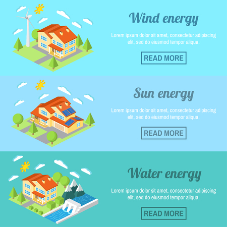 hydro power: Eco energy horizontal banner set with low-energy houses. Wind turbine, solar panels and hydro power plant .For web design, mobile and application interface, also useful for infographics.
