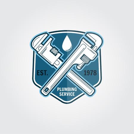 Archiwalne plumbing usługi znaczek, emblemat sztandar lub logo.Elements na temat działalności usług hydraulicznych. Ilustracji wektorowych.