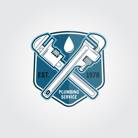 Vintage plumbing service badge, banner or logo emblem.Elements on the theme of the plumbing service business. Vector illustration.