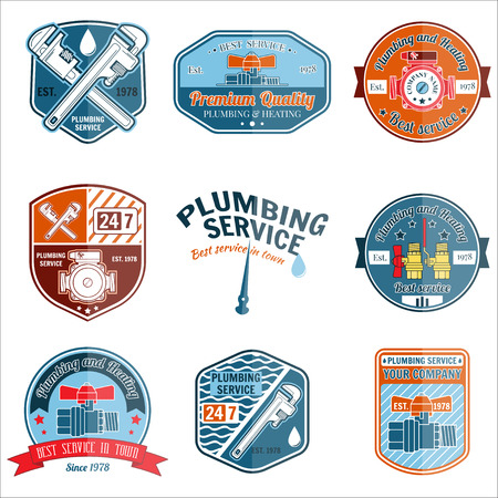 plumbing tools: Set of retro vintage badges and labels. Plumbing and heating service. Emergency service logo. Vector illustration. Elements on the theme of the plumbing service business. Illustration