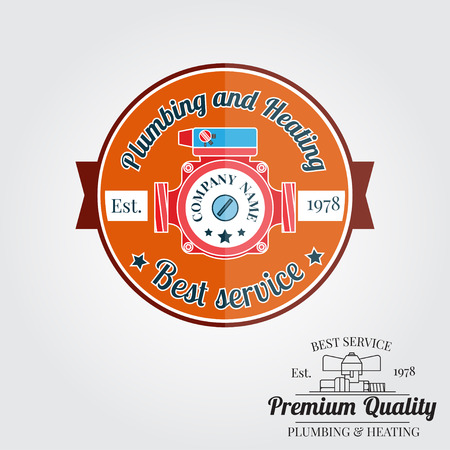 fixtures: Vintage plumbing service badge, banner or logo emblem.Elements on the theme of the plumbing and heating service business. Vector illustration.