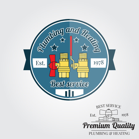 Vintage plumbing service badge, banner or logo emblem.Elements on the theme of the plumbing and heating service business. Vector illustration.