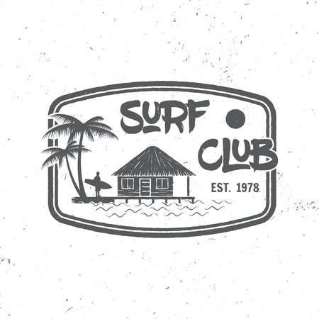 varsity: Surf club concept. Vector Summer surfing retro badge. Surfing concept for shirt or , print, stamp. Surfers lagoon beach hut. Surf icon design. - stock vector. Illustration