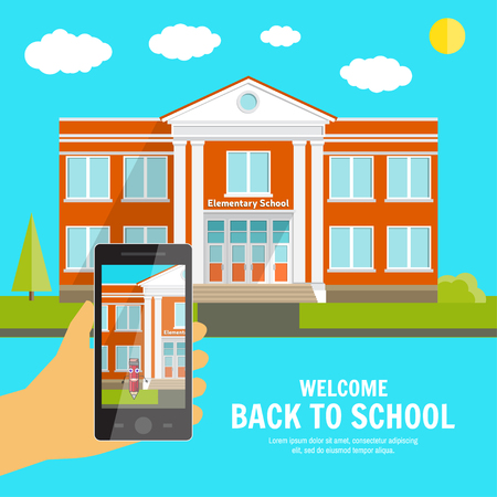 suburban street: Welcome back to School background with place for your text and hand with phone. Elementary School design template. Back to School banner for website template, cards, posters, . Vector illustration. Illustration