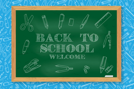 flier: Welcome Back to School design. For greeting card, advertising, promotion, poster, flier, blog, article, social media, marketing or banner. Back To School typographical background on chalkboard.
