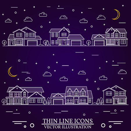 Quartier des maisons illustrées sur fond violet. Vector mince ligne icône banlieue maisons américaines nuit. Pour la conception web et interface d'application, également utile pour infographies. Vecteurs