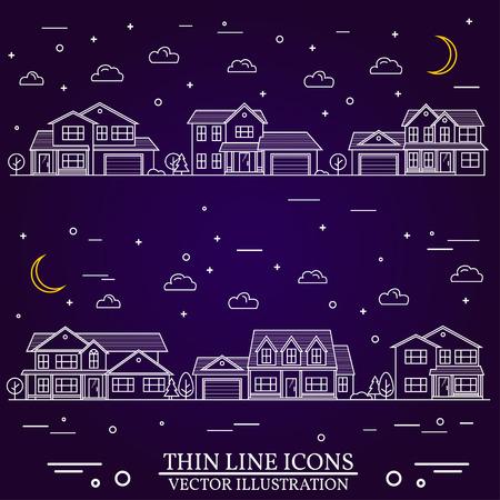 Wijk met woningen afgebeeld op paarse achtergrond. Vector dunne lijn icoon voorsteden Amerikaanse huizen 's nachts. Voor webdesign en applicatie-interface, ook nuttig voor infographics. Vector Illustratie