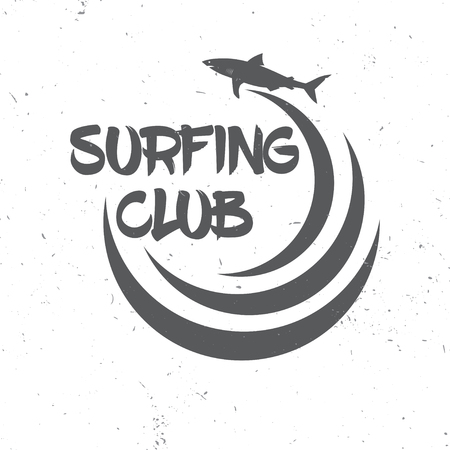 varsity: Surf club concept. Vector Summer surfing retro badge. Surfing concept for shirt , print, stamp. Shark and wave. Surf icon design. - stock vector.