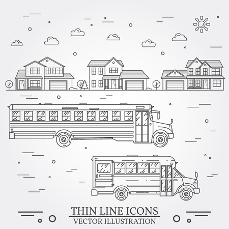 Neighborhood with homes and school buses illustrated on white. Vector thin line icon suburban american houses. Back to school. Vector dark grey. Vettoriali