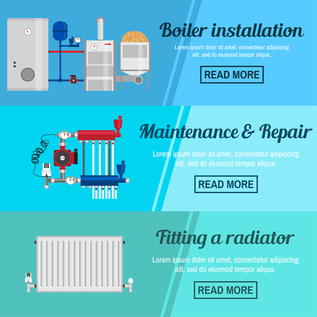 fitting: Horizontal banner set with boiler Installation, maintenance and repair and fitting a radiator design. For web design, mobile and application interface, also useful for infographics. Vector. Illustration