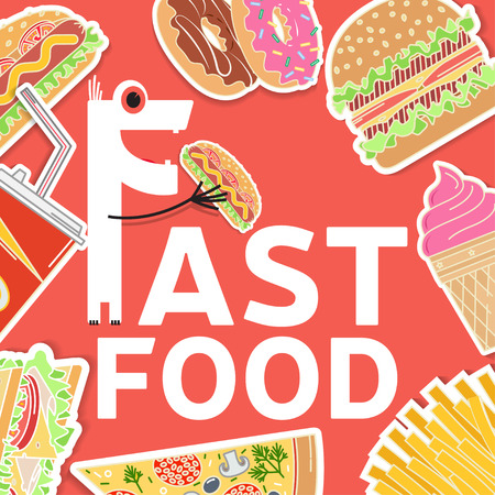 junkfood: Fast food flat icons set. Elements on the theme of the restaurant business. Ice cream, hot dog, french fries, soda cup, pizza slice, burger, sandwich and donut. Clipping mask with a group of objects.